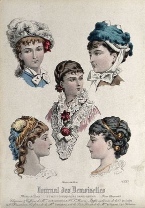 The_heads_and_shoulders_of_five_women;_the_upper_two_wear_fa_Wellcome_V0019897ER